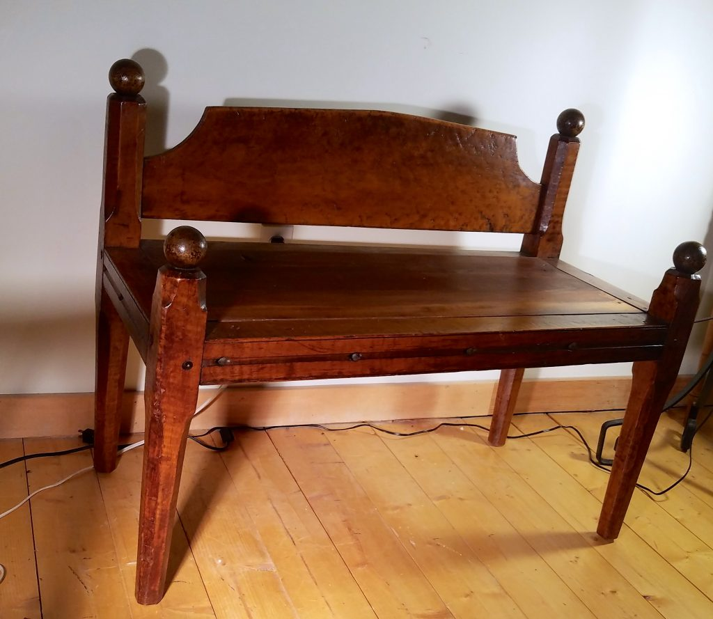 Tiger Maple Rope Bed Bench
