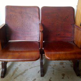 Vintage Mahogany 2-Seater Theater Folding Seats