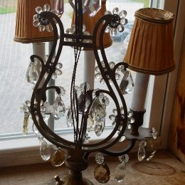 Charming Victorian Crystal Boudoir Lamps