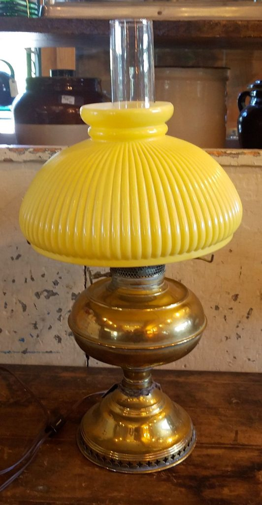 19th C. Brass/Glass Oil Lamp Electrified
