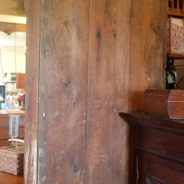 19th C. Bow Front Corner Cupboard