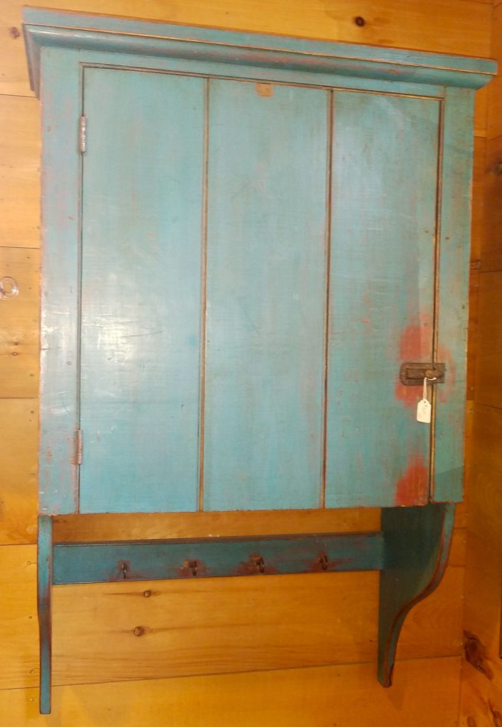 1800's Teal Wall Cabinet