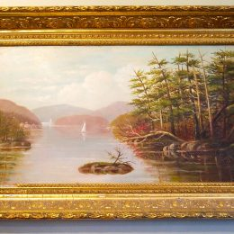 19th C. Oil Painting with Gilt Frame