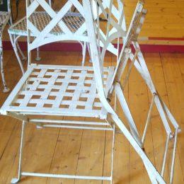 White Iron Folding Patio Chairs