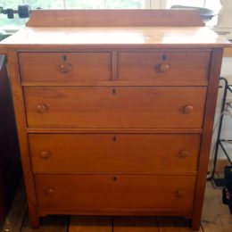 19th C 5 DRAWER MAPLE DRESSER