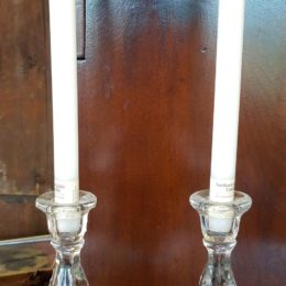 8″ Etched Glass Candlesticks