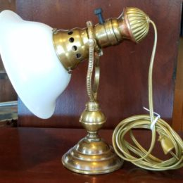 Late 1800's Brass w/Milkglass Globe Wall Lamp