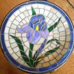 Iris Motif Concrete Mosaic w/Iron Base Birdbath