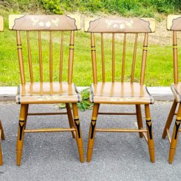 Set of Six 19th C Country Plank Seat Chairs